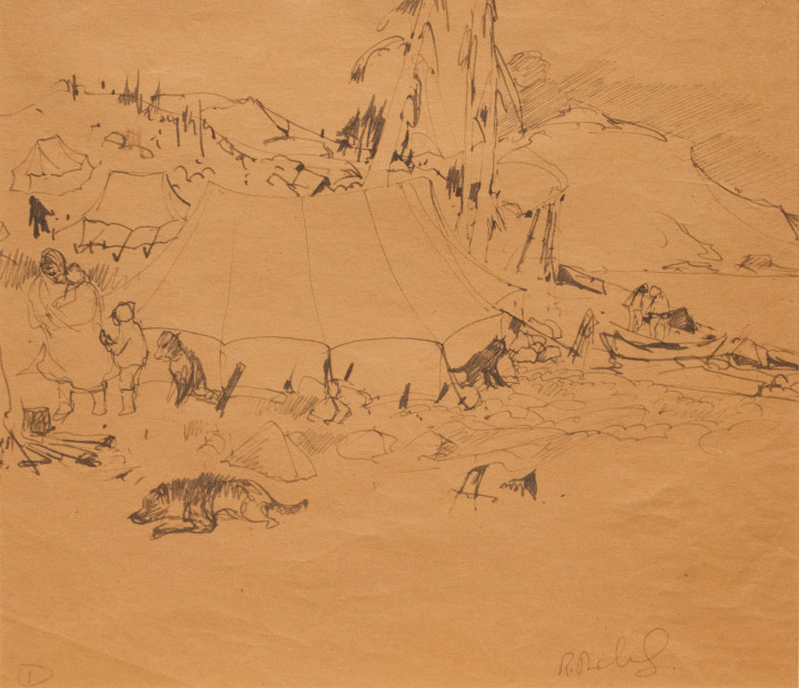 René Richard Campement Indien, 1931 (circa) Ink on paper - Encre sur papier 11 1/2 x 13 1/2 in 29.2 x 34.3 cm