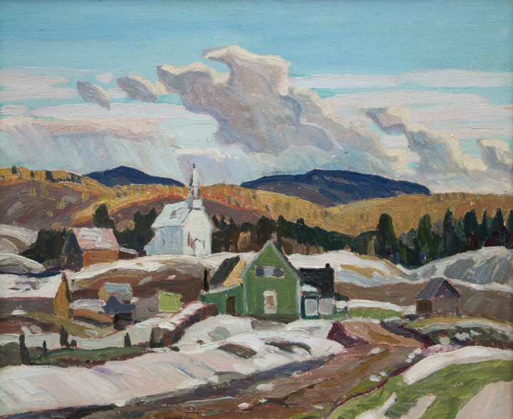 Franklin Carmichael Church and Houses at Deux-Rivières (West of Bissett Creek), 1932 (circa) Oil on board - Huile sur carton 10 x 12 in 25.4 x 30.5 cm Not for sale