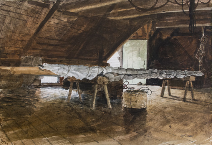 Tom Forrestall Sail Loft Watercolour on illustration board - Aquarelle 14 1/2 x 21 in 36.8 x 53.3 cm