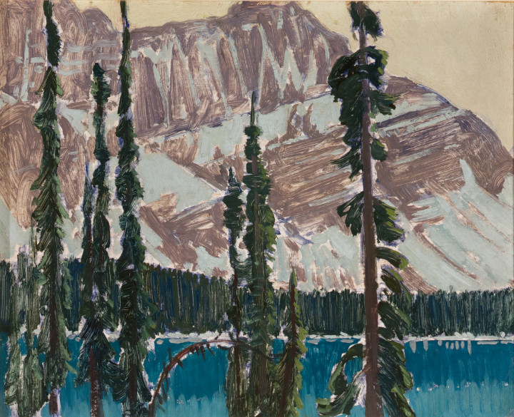 J.E.H. MacDonald Lake O'Hara and Mt. Schäffer, 1926 or 1927 Oil on panel 8 1/2 x 10 1/2 in 21.6 x 26.7 cm