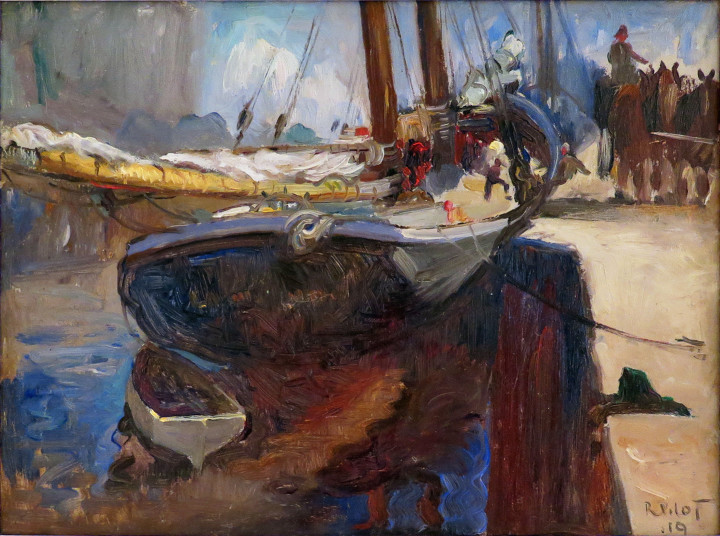 Robert Pilot Schooner Loading, 1919 Oil on panel - Huile sur panneau 10 3/4 x 14 in 27.3 x 35.6 cm