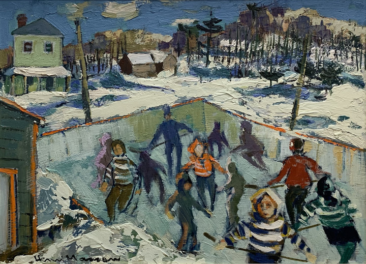 Henri L. Masson Les patineurs à Masham Oil on masonite 12 x 16 in 30.5 x 40.6 cm