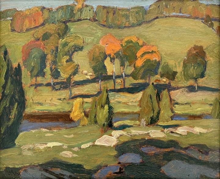 J.E.H. MacDonald River Pastures, Gull River, 1921 Oil on cardboard 8 1/2 x 10 1/2 in 21.6 x 26.7 cm