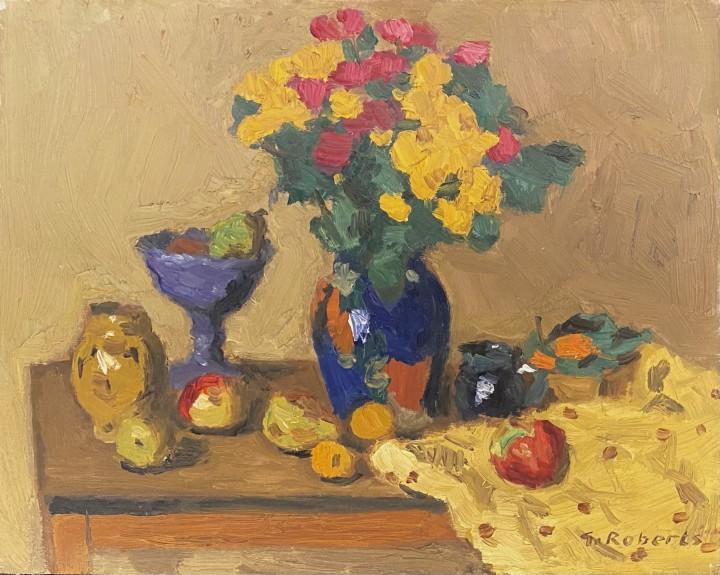 Goodridge Roberts Still Life of Fruit and Flowers, 1958 (circa) Oil on panel 8 1/2 x 10 1/2 in 21.6 x 26.7 cm