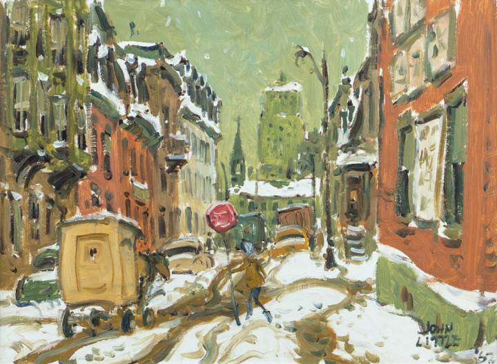 John Little La Gauchetière St., Chinatown, Montreal, 1962 Oil on canvas board 12 x 16 in 30.5 x 40.6 cm