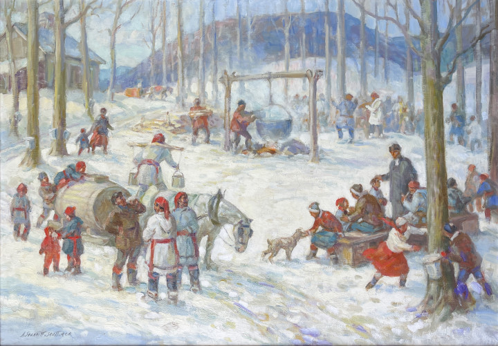 Adam Sherriff Scott Sketch for Old Time Sugaring Party, St Hilaire, P.Q. Oil on canvas 25 x 40 in 63.5 x 101.6 cm
