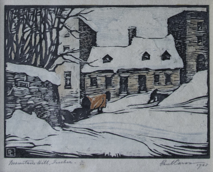 Paul Caron Mountain Hill, Quebec, 1928 Woodcut 4 1/2 x 6 in 11.4 x 15.2 cm This work is from an edition of 50 proofs