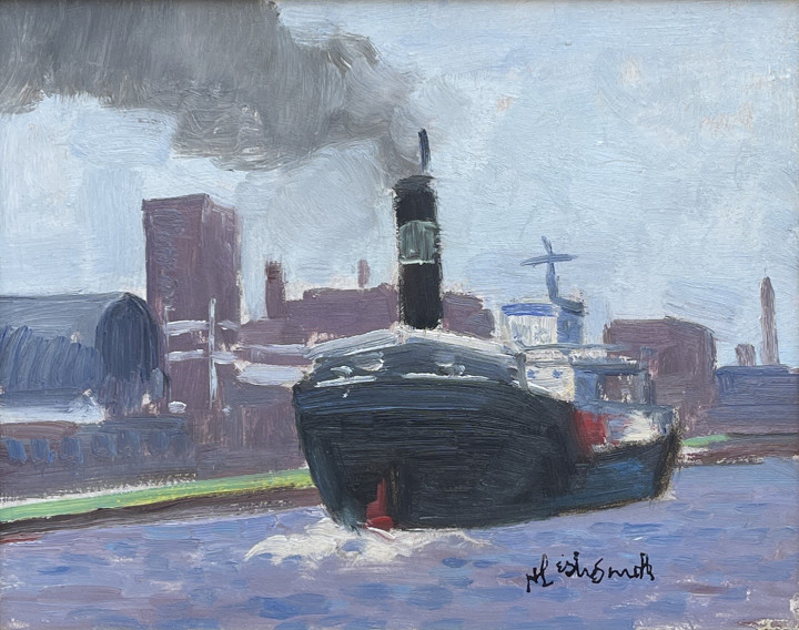 H. Leslie Smith Ship in Lachine Canal Oil on hardboard 8 x 10 in 20.3 x 25.4 cm
