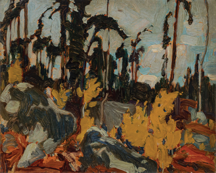 J.E.H. MacDonald Rocky Woods, Algoma, 1919 Oil on panel 8 1/2 x 10 1/2 in 21.6 x 26.7 cm