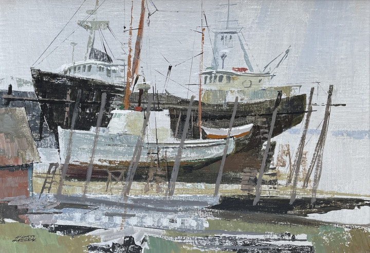 Hilton Hassell Repairs at Lunenburg, N.S., May 1975 Oil on panel 14 x 20 in 35.6 x 50.8 cm