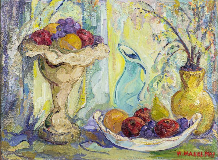 H. Mabel May Still Life with Fruit Oil on board - Huile sur panneau 17 x 23 in 43.2 x 58.4 cm