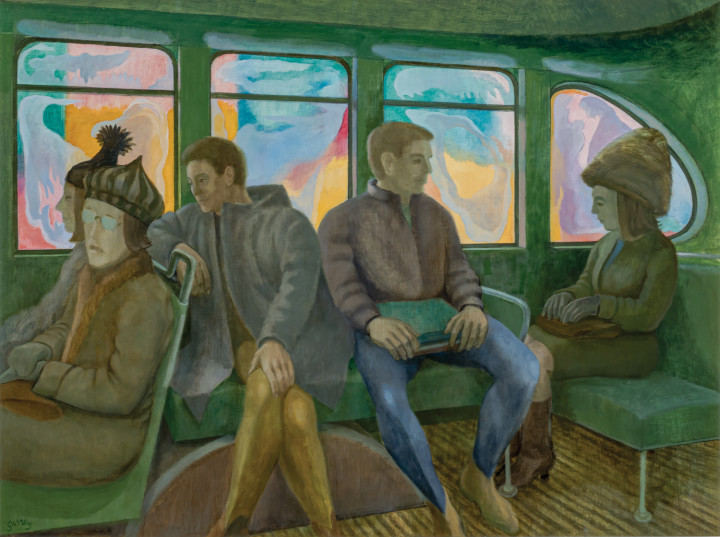 Philip Surrey Bus Interior, 1965 (circa) Oil on board 24 x 32 in 61 x 81.3 cm