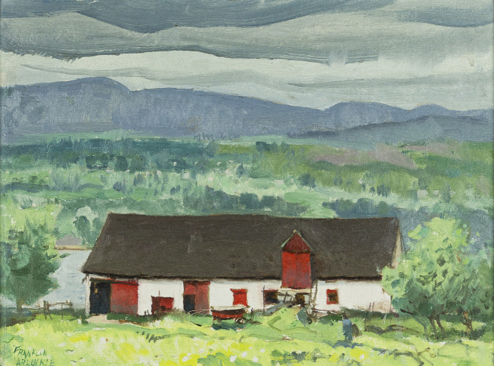 Franklin Arbuckle St. Pierre, Ile d'Orleans, 1980 (June 12) oil on canvas on masonite 12 x 16 in 30.5 x 40.6 cm