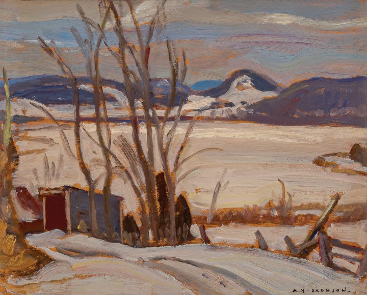 A.Y. Jackson Cabin by the Lake, 1935 (circa) Oil on panel 8 1/2 x 10 1/2 in 21.6 x 26.7 cm