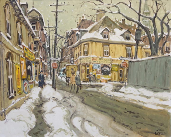 John Little Rue Beaudry, de la Gauchetière, Montreal, 1963 Oil on canvas 24 x 30 in 61 x 76.2 cm