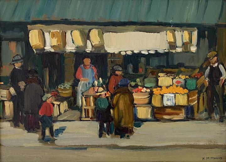 Kathleen Morris Fruit Shop, By-Ward Market, Ottawa, 1922-1929 Oil on panel 11 x 14 1/2 in 27.9 x 36.8 cm