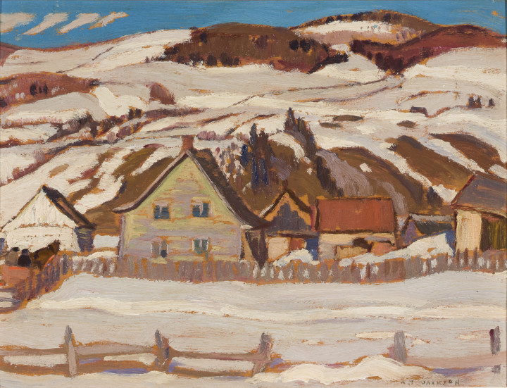 A.Y. Jackson Farm, St-Lawrence, North Shore, 1929 (April) Oil on panel 8 1/2 x 10 1/2 in 21.6 x 26.7 cm