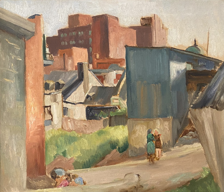 Louis Muhlstock In The Lane, Montreal, 1940 (circa) Oil on canvas 18 x 21 in 45.7 x 53.3 cm