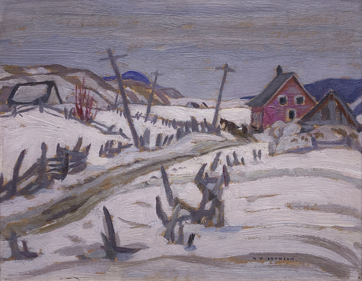 A.Y. Jackson St-Urbain, Quebec , 1929 (April) Double-sided oil on panel 8 3/4 x 10 1/2 in 22.2 x 26.7 cm