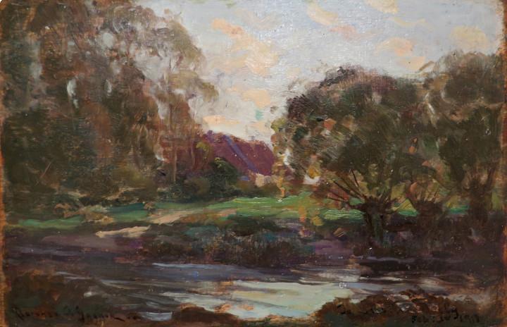 """Clarence A. Gagnon Sketch for """"Scène d'automne / Autumn scene"""", 1906 Oil on panel - Huile sur panneau 4 1/2 x 7 in 11.4 x 17.8 cm"""