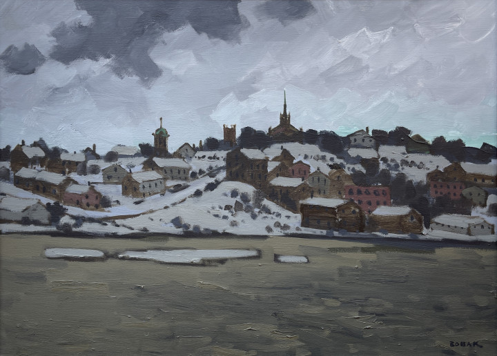 Bruno Bobak Saint John West Oil on canvas 22 x 30 in 55.9 x 76.2 cm