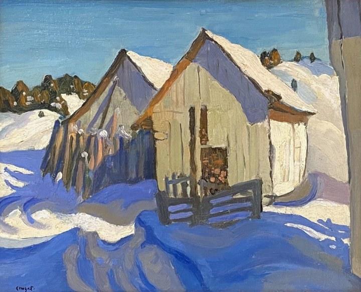 Edwin Holgate Barns in Snow, Malbaie, 1926 (circa) Oil on panel 8 1/2 x 10 1/2 in 21.6 x 26.7 cm