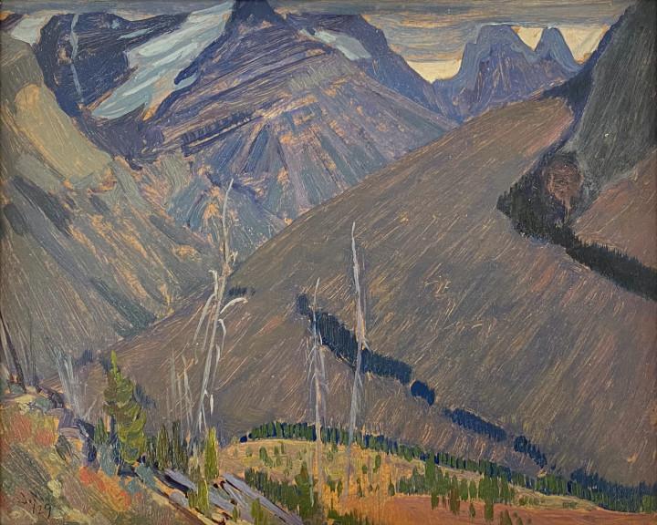 J.E.H. MacDonald Near Wapta Lake, Kicking Horse Pass, Rocky Mountains, 1929 Oil on panel 8 1/2 x 10 1/2 in 21.6 x 26.7 cm