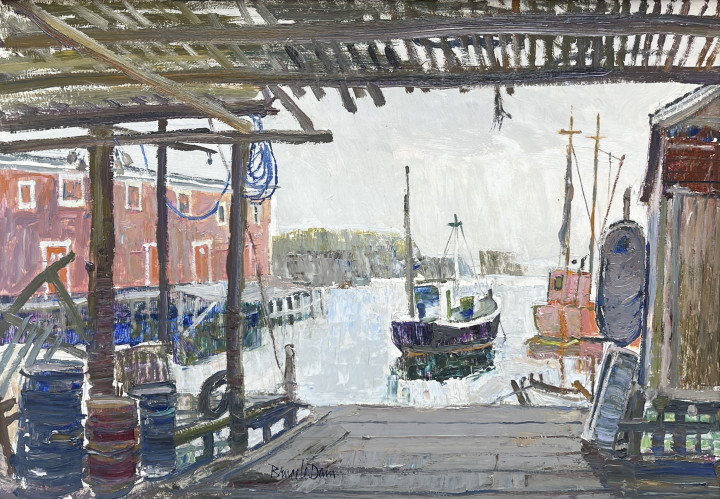 Bruce Le Dain Under the Cod Stage, Port de Grave, July 1970 Oil on panel 14 x 20 in 35.6 x 50.8 cm