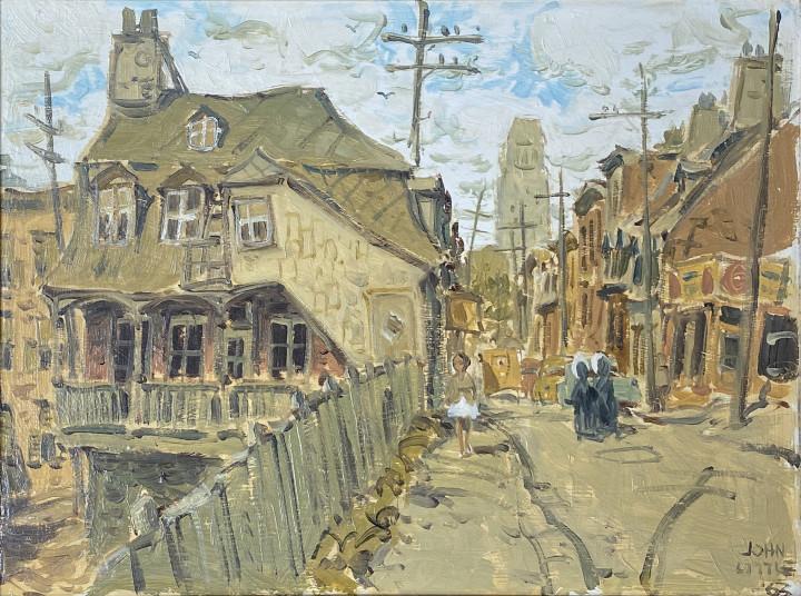 John Little Rue Artillerie at D'Artigny, Quebec, 1963 Oil on board - Huile sur carton 12 x 16 in 30.5 x 40.6 cm