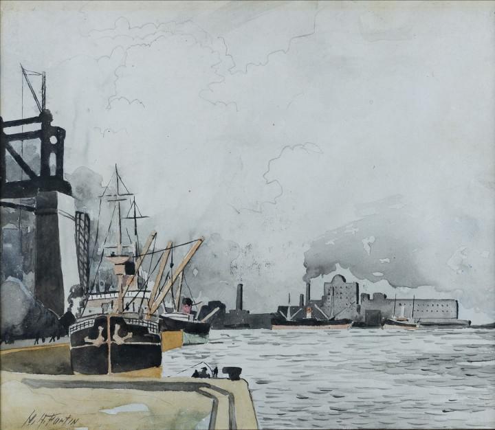 Marc-Aurèle Fortin The Port, Montreal, 1925 Watercolour - Aquarelle 14 x 16 in 35.6 x 40.6 cm