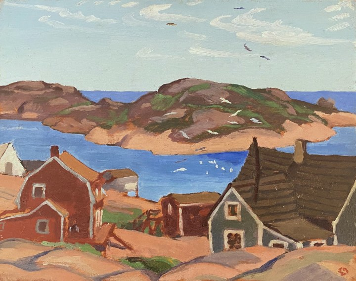 Edwin Holgate Fishing Village, Mutton Bay, 1932 (circa) Oil on panel 8 3/8 x 10 1/2 in 21.3 x 26.7 cm