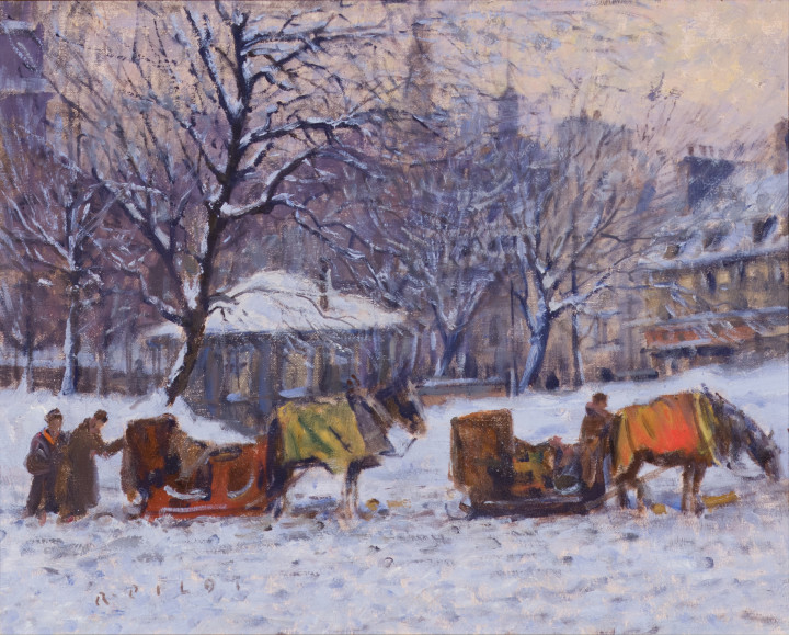 Robert Pilot Twilight, Place d'Armes, Quebec City Oil on canvas 16 x 20 in 40.6 x 50.8 cm