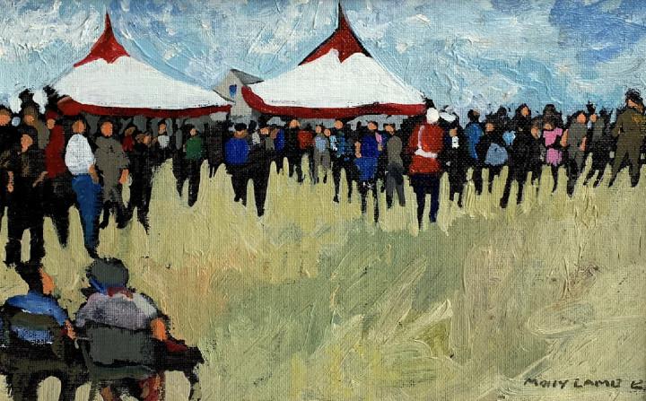 Molly Lamb Bobak The Celebration (Princess Patricia's Canadian Light Infantry), 1989 Oil on canvas board 7 x 11 in 17.8 x 27.9 cm