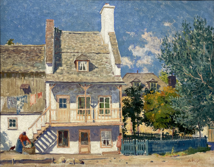 Robert Pilot Old Court-yard on the Beaupré road, P Q , 1931 (June to November) Oil on canvas - huile sur toile 18 x 24 in 45.7 x 61 cm