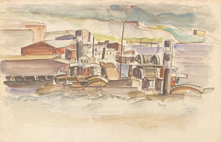 Jack Humphrey Boats and Dredges, Saint John, N.B., 1937 Watercolour 13 1/2 x 21 1/4 in 34.3 x 54 cm