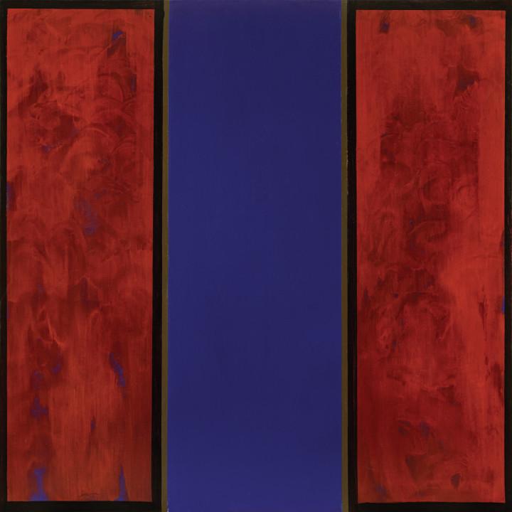 Jean McEwen A noir, corset velu des mouches éclatantes (Rimbaud), 1969 (circa) Acrylic on canvas 61 x 60 in 154.9 x 152.4 cm