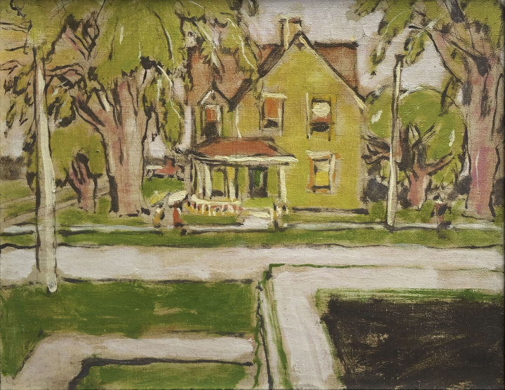 David Milne Lambe's House (The Yellow House, Uxbridge), 1942 (May 15) Oil on canvas 16 x 20 in 40.7 x 50.8 cm This work is included in the David B. Milne Catalogue Raisonne of the Paintings compiled by David Milne Jr. and David P. Silcox, Vol. 2, no. 403.113.