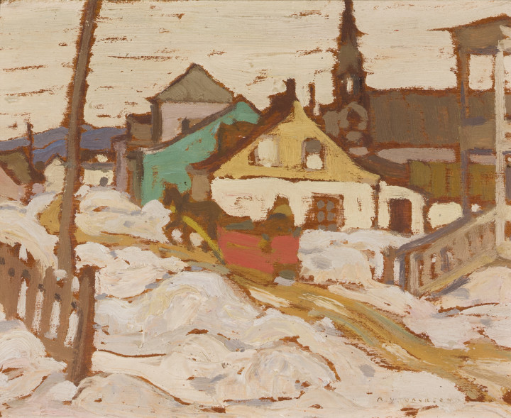 A.Y. Jackson Baie St. Paul in Winter, 1923 - 1924 (circa) Oil on wood 8 1/2 x 10 1/2 in 21.6 x 26.7 cm