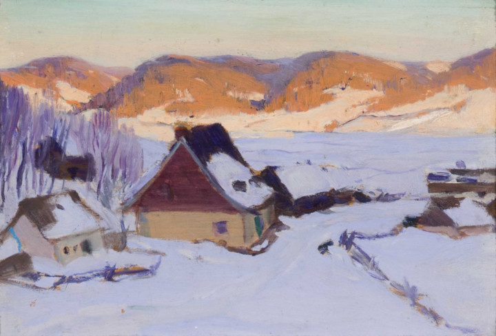 Clarence A. Gagnon In the Laurentians, Baie St. Paul, 1915 Oil on panel 4 3/4 x 7 1/4 in 12.1 x 18.4 cm