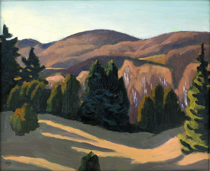 Edwin Holgate Near Morin Heights, 1955 Oil on panel - Huile sur panneau 8 1/2 x 10 1/2 in 21.6 x 26.7 cm