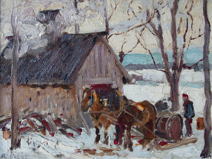 Robert Pilot Sugaring, Montebello, PQ Oil on panel 7 x 9 in 17.8 x 22.9 cm