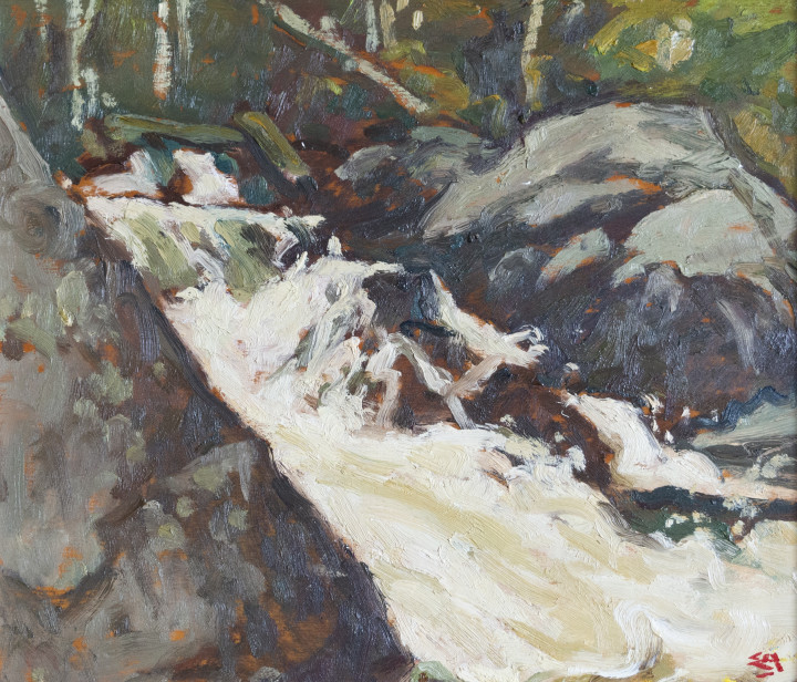 Edwin Holgate 1892-1977Mountain Stream, Laurentians signed, 'E.H.' (lower right); titled and signed by the artist 'Mountain Stream / Laurentians / E Holgate' (verso, upper left) Oil on panel 8 1/2 x 10 1/2 in 21.6 x 26.7 cm