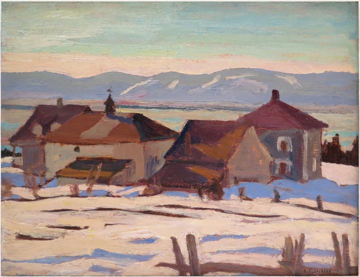 A.Y. Jackson Port Joli, Que, 1927 (circa) Oil on panel - Huile sur panneau 8 1/8 x 10 in 20.5 x 25.4 cm