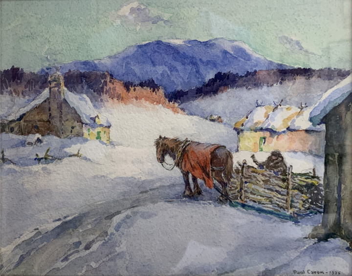 Paul Caron Gathering Firewood, 1935 Watercolour 8 3/4 x 10 1/2 in 22.2 x 26.7 cm