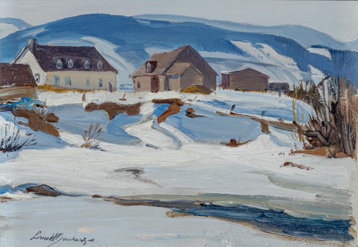 Lorne Bouchard Baie Saint Paul Oil on panel 7 x 9 1/2 in 17.8 x 24.1 cm