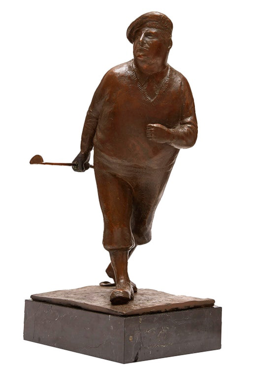 William Hadd McElcheran The Golfer, 1983 Bronze on base - Bronze fixé sur base Including base: 13 x 5 1/4 x 4 1/4 in (33 x 13.3 x 10.8 cm) Excluding base: 10 3/4 x 5 1/2 x 4 1/2 in (27.3 x 14 x 11.4 cm)