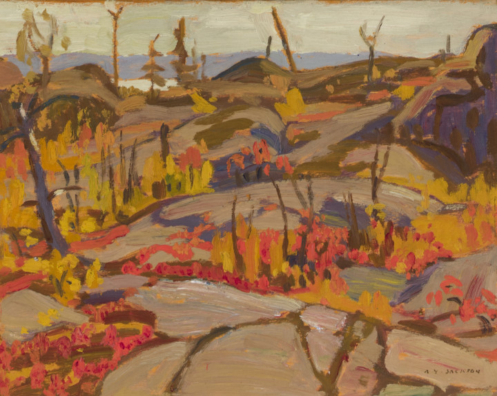 A.Y. Jackson Wild Cherries and Huckleberries, Lake Superior, 1921 (October) Oil on panel 8 x 10 in 20.3 x 25.4 cm