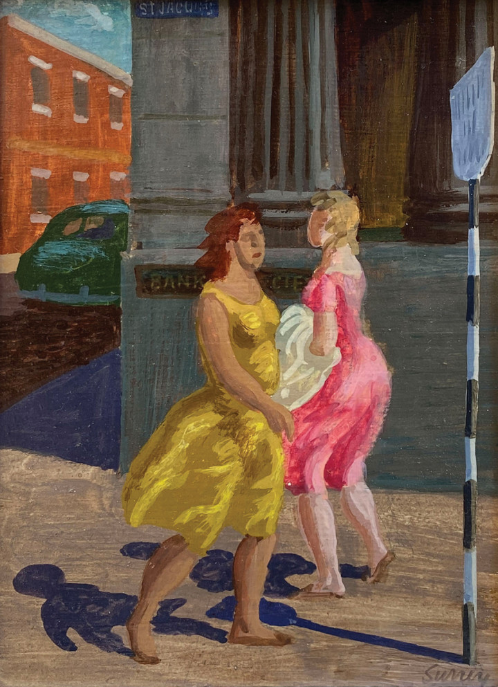 Philip Surrey Bank Girls, St. Jacques Street, Montreal, 1955 (circa) Oil on board 8 x 6 in 20.3 x 15.2 cm