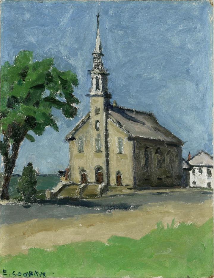 Emily Coonan Church at Notre-Dame-du-Portage (Near Cacouna) Oil on canvas board - Huile sur toile marouflée sur carton 14 x 11 in 35.6 x 27.9 cm
