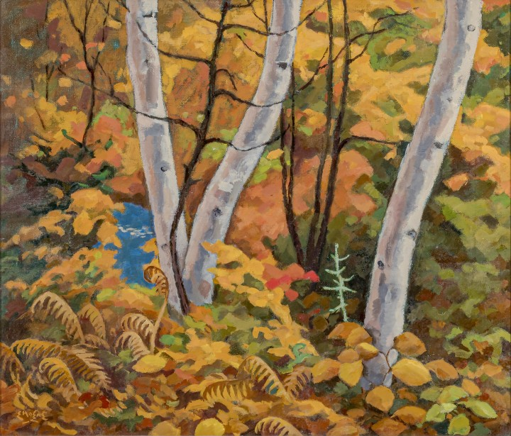 Edwin Holgate 1892-1977Autumn Tangle, 1964 signed, 'E Holgate' (recto lower left); signed and inscribed 'Autumn Tangle' (verso, upper right) Oil on canvas 18 x 21 in 45.7 x 53.3 cm